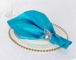 "20""x 20"" Crushed Taffeta Table Napkins - Turquoise 61385 (10pcs/pk)"