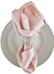 "20""x20"" Crushed Taffeta Napkin - Blush Pink 61315(1pc)"