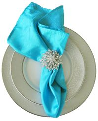 "20""x20"" Crushed Taffeta Napkin - Pool Blue 61378(1pc)"