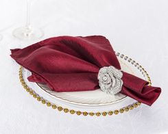 "20""x 20"" Crushed Taffeta Table Napkins - Burgundy 61310 (10pcs/pk)"