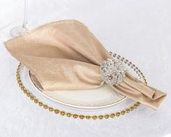 "20""x 20"" Crushed Taffeta Table Napkins - Champagne 61328 (10pcs/pk)"