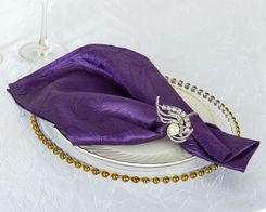 "20""x 20"" Crushed Taffeta Table Napkin - Eggplant 61345 (10pcs/pk)"