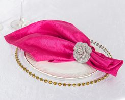 "20""x 20"" Crushed Taffeta Table Napkins - Fuchsia 61309 (10pcs/pk)"
