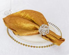 "20""x 20"" Crushed Taffeta Table Napkins - Gold 61327 (10pcs/pk)"