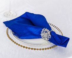 "20""x 20"" Crushed Taffeta Table Napkins - Royal Blue 61322 (10pcs/pk)"