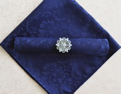 "20""x20"" Marquis Jacquard Polyester Napkin- 98023 Navy Blue (1pc)"