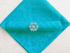 "20""x20"" Marquis Jacquard Polyester Napkin- 98085 Turquoise (1pc)"