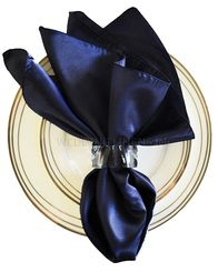 "20""x20"" Satin Napkins - Navy Blue 71823 (10pcs/pk)"