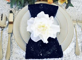 "20""x20"" Sequin Napkins - Navy Blue 01123 (10pc/pk)"