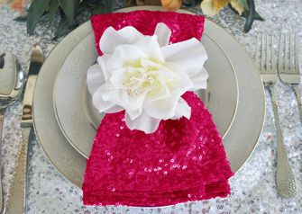 "20""x20"" Sequin Napkins - Fuchsia 01109 (10pc/pk)"
