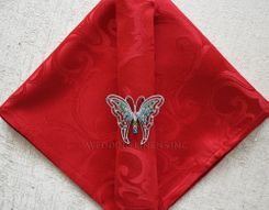 "20""x20"" Versailles Chopin Jacquard Polyester Napkin- Apple Red 92008 (1pc)"