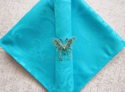 "20""x20"" Versailles Chopin Jacquard Polyester Napkin- Turquoise 92085 (1pc)"