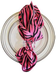 "20""x20"" Zebra Printed Satin Napkins- Bubble Gum/Black (10pcs/pk)"
