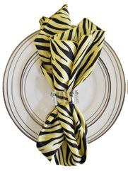 "20""x20"" Zebra Printed Satin Napkins- Canary Yellow/Black (10pcs/pk)"