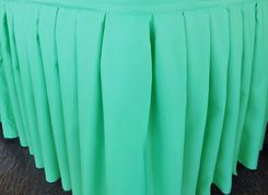 "21'x29"" Accordion Pleat Polyester Table Skirts - Tiff Blue / Aqua Blue 72318 (1pc/pk)"