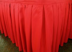 "21'x29"" Accordion Pleat Polyester Table Skirts - Red 72312 (1pc/pk)"