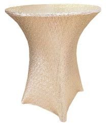"30"" Cocktail Sequin Spandex Table Cover - Champagne 00728 (1pc/pk)"