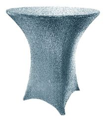 """30"""" Cocktail Sequin Spandex Table Cover - Dusty Blue 00703 (1pc/pk)"""