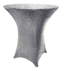 "30"" Cocktail Sequin Spandex Table Cover - Silver 00740 (1pc/pk)"