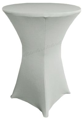 "30"" Cocktail Spandex Table Cover - Silver 64640 (1pc/pk)"