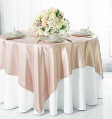 "54"" Square Satin Table Overlay - Blush Pink 50815 (1pc/pk)"