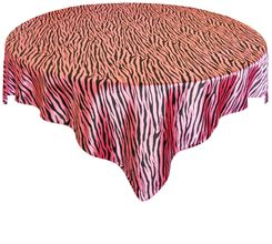 "54"" Square Zebra Print Satin Table Overlay - Bubble Gum / Black 81235 (1pc/pk)"