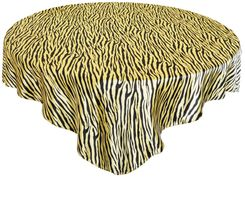"54"" Square Zebra Print Satin Table Overlay - Canary Yellow / Black 81216 (1pc/pk)"