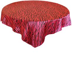 "54"" Square Zebra Print Satin Table Overlay - Fuchsia / Black 81209 (1pc/pk)"