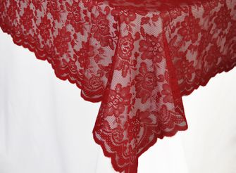 """54""""x 108"""" Rectangular Lace Table Overlays - Apple Red 90908 (1pc/pk)"""