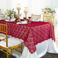 "54""x 108"" Rectangular Lace Table Overlays - Apple Red 90908 (1pc/pk)"