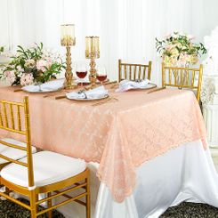 "54""x 108"" Rectangular Lace Table Overlays - Apricot/Peach 90931 (1pc/pk)"