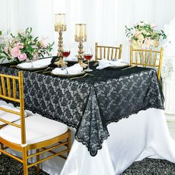 "54""x 108"" Rectangular Lace Table Overlays - Black 90939 (1pc/pk)"