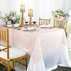 "54""x 108"" Rectangular Lace Table Overlays - Blush Pink 90915 (1pc/pk)"