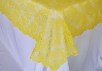 """54""""x 108"""" Rectangular Lace Table Overlays - Canary Yellow 90916 (1pc/pk)"""
