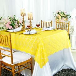"54""x 108"" Rectangular Lace Table Overlays - Canary Yellow 90916 (1pc/pk)"