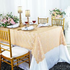 "54""x 108"" Rectangular Lace Table Overlays - Champagne 90928 (1pc/pk)"