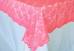 "54""x 108"" Rectangular Lace Table Overlays - Coral 90906 (1pc/pk)"