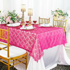 "54""x 108"" Rectangular Lace Table Overlays - Fuchsia 90909 (1pc/pk)"