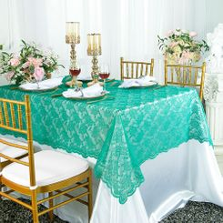 "54""x 108"" Rectangular Lace Table Overlays - Jade 90926 (1pc/pk)"