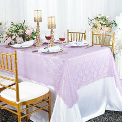 "54""x 108"" Rectangular Lace Table Overlays - Lavender 90911 (1pc/pk)"
