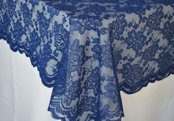"54""x 108"" Rectangular Lace Table Overlays - Navy Blue 90923 (1pc/pk)"