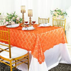 "54""x 108"" Rectangular Lace Table Overlays - Orange 90933 (1pc/pk)"