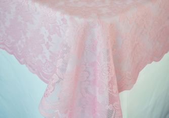 "54""x 108"" Rectangular Lace Table Overlays - Pink 90905 (1pc/pk)"
