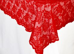 "54""x 108"" Rectangular Lace Table Overlays - Red 90912 (1pc/pk)"