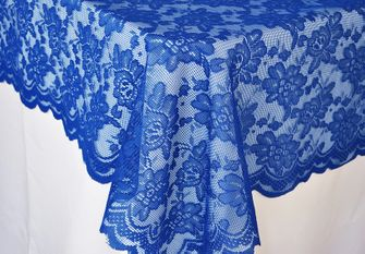 "54""x 108"" Rectangular Lace Table Overlays - Royal Blue 90922 (1pc/pk)"