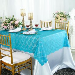 "54""x 108"" Rectangular Lace Table Overlays - Turquoise 90985 (1pc/pk)"