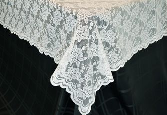 "54""x 108"" Rectangular Lace Table Overlays - White 90901 (1pc/pk)"