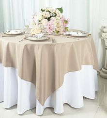 "54""x 54"" Square Polyester Table Overlay Toppers - Champagne 51428 (1pc/pk)"