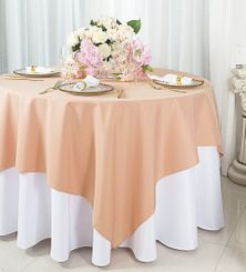 "54""x 54"" Square Polyester Table Overlay Toppers - Peach / Apricot 51431 (1pc/pk)"