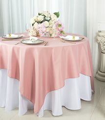 "54""x 54"" Square Polyester Table Overlay Toppers - Rose 51407 (1pc/pk)"